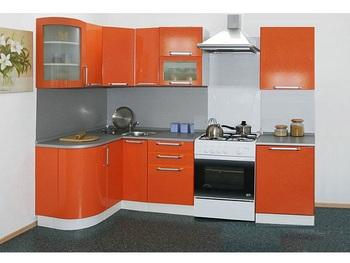 Кухня Трапеза Престиж угловая 1230x2085 с гнутыми фасадами, 2 категория, Боровичи мебель