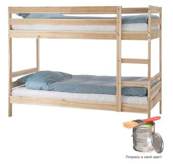 Кровать Пирус 2-х ярусная массив для покраски, Боровичи мебель