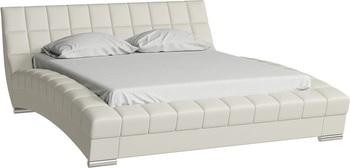 Кровать Оливия 1600 кожзам белый (без матраса), Нижегородмебель
