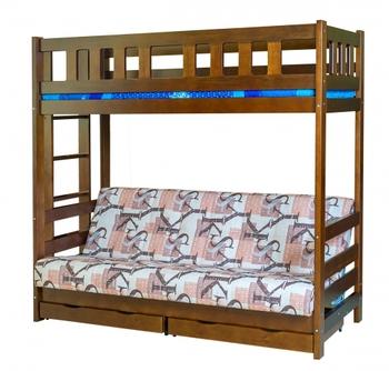Кровать-чердак двухъярусная «Фламинго» с диваном, с ящиками, Боринское