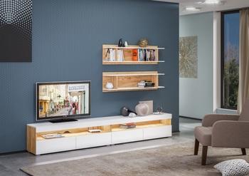 Альба, Гостиная 2600 мм, без подсветки, Моби мебель
