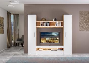 Альба, Гостиная 2100 мм, с подсветкой, Моби мебель