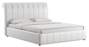 Кровать Августа 1600 кожзам белый (без матраса), Нижегородмебель