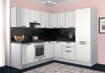 Кухонный гарнитур Блэк угловой 2100х1800, 2 категория,  Боровичи мебель
