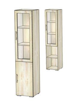 5.05 Шкаф-витрина 420х400х1951, Блюз МДФ Рамка/ЛДСП, Элегия, Боровичи