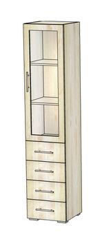 5.06 Шкаф-витрина с ящиками 420х400х1951, Блюз МДФ Рамка/ЛДСП, Элегия, Боровичи