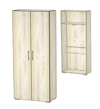 5.24 Шкаф для одежды двухдверный 840х400х1951, Блюз МДФ Рамка/ЛДСП, Элегия, Боровичи