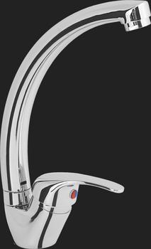Смеситель кухонный однорычажный с высоким поворотным изливом UM2302 STCR, Матовый
