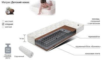Матрац Детский кокос, 600х1200, Боровичи мебель
