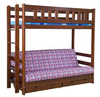 Кровать двухъярусная с диваном Фламинго с ящиками, Боринское