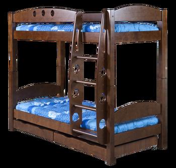 Кровать двухъярусная Фрегат с ящиками, массив