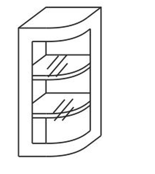 Шкаф угловое окончание №15у со стеклом, 300х310х706 мм, МДФ, Элегия, Боровичи