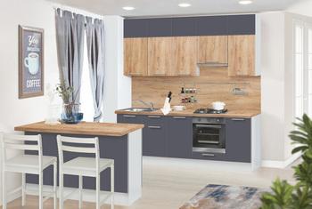 Кухонный гарнитур Классика 2600 с антресолью 1050 + остров кухонный 1500х600х898(со столешницей), 1 категория, Боровичи мебель