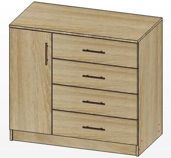 Лайт, Комод 1 дверь, 4 ящика 900х480х820 мм, Лопасня мебель