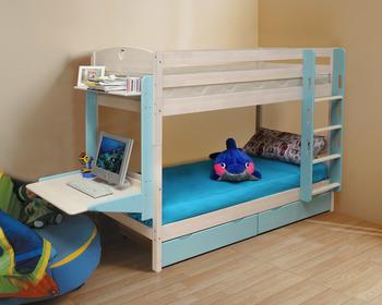 Кровать детская двухъярусная массив с ящиками (трансформер), Боровичи мебель