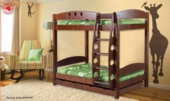"""Кровать """"Фрегат"""" детская двухъярусная массив с ящиками, Боринское"""