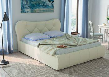 Кровать Лавита 1600 кожзам белый (без матраса), Нижегородмебель