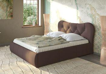 Кровать Лавита 1600 кожзам темно коричневый (без матраса), Нижегородмебель