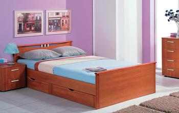 Кровать Мелисса 1400 с двумя спинками с ящиками (без матраца) - Боровичи мебель