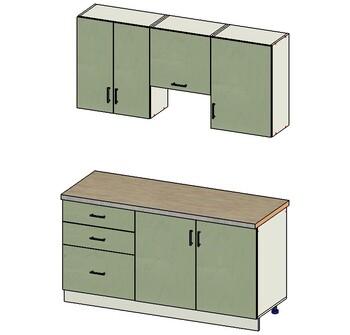 Комплект кухонной мебели Прима 1600х600х2170, вариант №2, 1 кат. Лопасня мебель