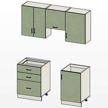 Комплект кухонной мебели Прима 1600х600х2170, вариант №1, 1 кат. Лопасня мебель