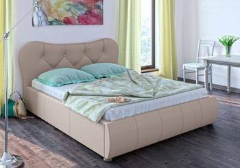 Кровать Лавита 1600 кожзам бежевый (без матраса), Нижегородмебель