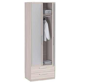 8.023 Лотос, Шкаф 2-х дверный с ящиками и зеркалом 840х2380х540, Боровичи мебель
