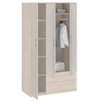 8.031 Лотос, Шкаф 3-х дверный с ящиками и зеркалом 1255х2380х540, Боровичи мебель