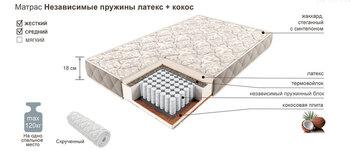 Матрац независимые пружины латекс+кокос, 900х2000, Боровичи мебель