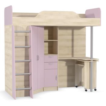 Ника, 427 Т Кровать-чердак со столом, 2044 х 1113, В 1920 мм, Моби мебель