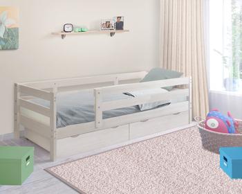 Кровать детская массив Норка с бортиком и ящиками, Боровичи мебель