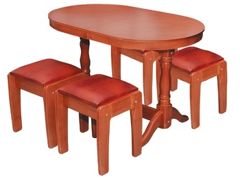 Столовая группа стол овальный + табуреты массив, Боринское