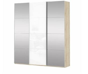 Шкаф-Купе Прайм 3-х дверный Зеркало/Белое стекло/Зеркало, 2100х570х2300 мм, Е1