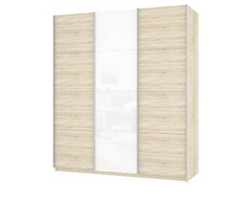 Шкаф-Купе Прайм 3-х дверный ЛДСП/Белое стекло/ЛДСП, 2100х570х2300 мм, Е1