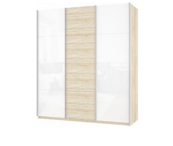 Шкаф-Купе Прайм 3-х дверный Белое стекло/ЛДСП/Белое стекло, 2100х570х2300 мм, Е1