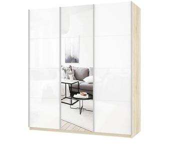 Шкаф-Купе Прайм 3-х дверный Белое стекло/Зеркало/Белое стекло, 2100х570х2300 мм, Е1