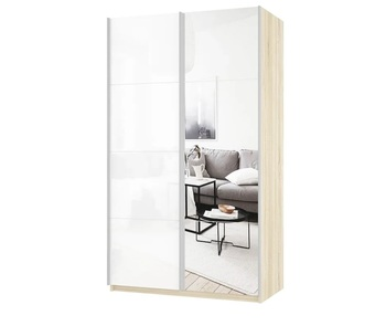 Шкаф-Купе Прайм 2-х дверный Зеркало/Белое стекло, 1600х570х2300 мм, Е1