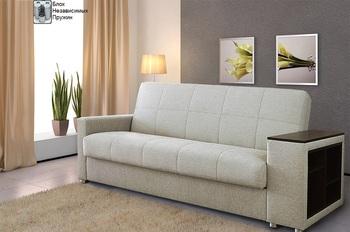 Диван-кровать Ручеек-1Н боковина с полкой, с блоком независимых пружин, Боровичи мебель