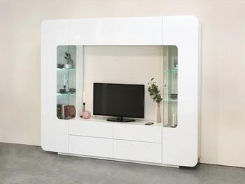Румба 2, Гостиная белый глянец, 2200х382х1843, Моби мебель