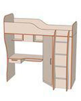 Шкаф угловой №2+Кровать 2-й ярус №3+Рабочая поверхность №4 (2040х1140х2070), Джуниор, Элегия, Боровичи