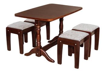 Столовая группа стол прямоугольный + табуреты массив, Боринское