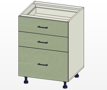 Стол 3 ящика МБ, вариант 1, 600х515х820, 1 кат. Лопасня мебель