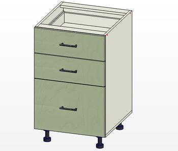 Стол 3 ящика МБ, вариант 1, 500х515х820, 1 кат. Лопасня мебель