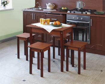 Комплект: Стол обеденный раскладной ЛДСП/ прямая нога + Табурет ЛДСП/прямая нога - 4шт., Элегия, Боровичи