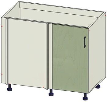 Стол угловой 1 дверь 960(1000)х555(600)х820 левый, 1 кат. Лопасня мебель