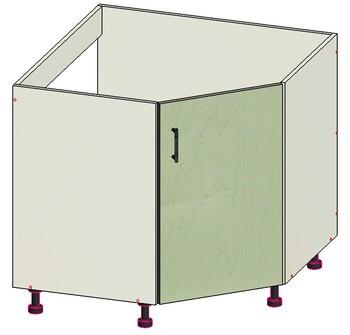 Стол угловой трапеция, 1 дверь, 860х860х820, 1 кат, Лопасня мебель