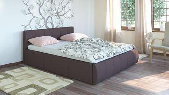 Кровать Афина 1600 кожзам темно-коричневый (без матраса), Нижегородмебель
