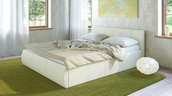Кровать Афина 1600 кожзам белый (без матраса), Нижегородмебель