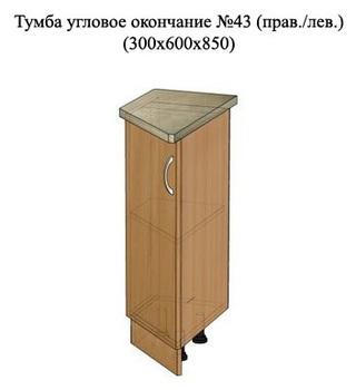 Тумба угловое окончание № 43 ( пр/лев ), 300х600х850 мм, МДФ, Элегия, Боровичи